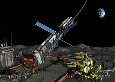 Non People Digital Art - A Manned Lunar Space Elevator Prepares by Walter Myers