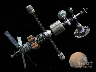 A Manned Mars Cycler Space Station Art Print by Walter Myers