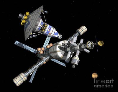 Digital Art - A Manned Mars Landerreturn Vehicle by Walter Myers