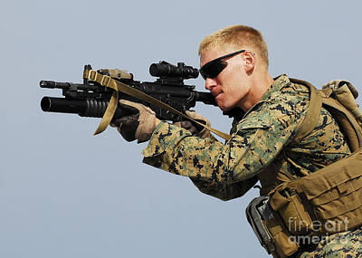 Telescopic Image Photograph - A Marine Looks Through The Sight by Stocktrek Images