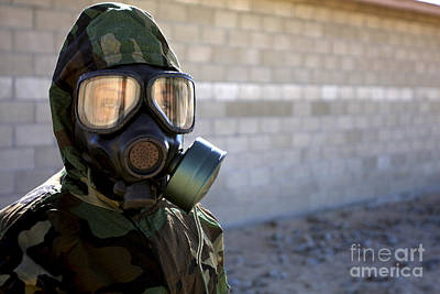 Obscured Face Photograph - A Marine Wearing A Gas Mask by Stocktrek Images