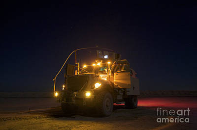 School Tote Bags - A Maxxpro Mrap Vehicle With Running by Terry Moore