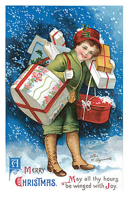 Christmas Greeting Painting - A Merry Christmas Vintage Card by Unknown