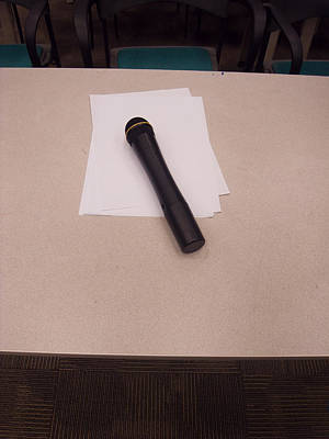A Microphone On The Lectern Of A Presentation Room Art Print by Ashish Agarwal