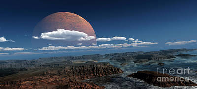 Plateau Digital Art - A Moon Rises Over A Young World by Frieso Hoevelkamp