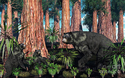 Caring Mother Digital Art - A Mother Arctodus Bear With Her Twin by Mark Stevenson