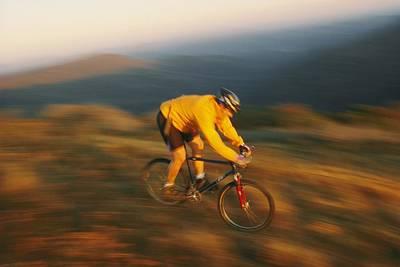A Mountain Biker Blurs Art Print