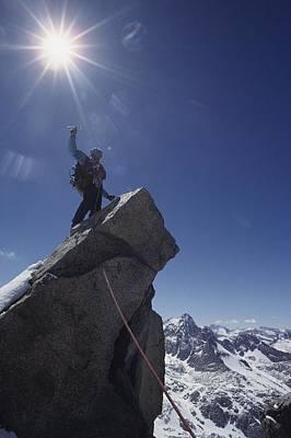 A Mountaineer Atop Mt. Gayley Art Print
