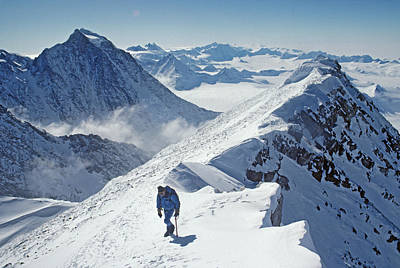 A Mountaineer On The Summit Ridge Print by Gordon Wiltsie