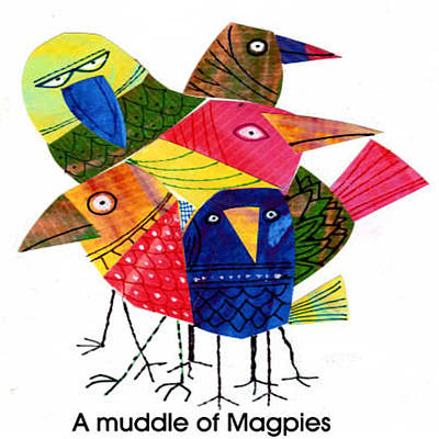 Magpies Mixed Media - A Muddle Of Magpies by Steven Duquette