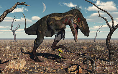 Stomp Digital Art - A Nanotyrannus Crushes The Last Flower by Mark Stevenson