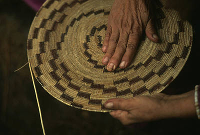 Artists And Artisans Photograph - A Native American Basket Weaver by Phil Schermeister