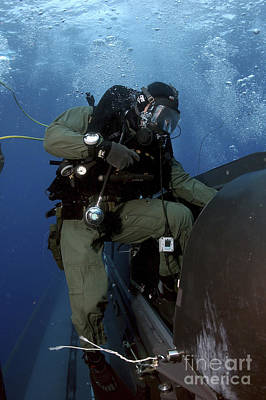 Photograph - A Navy Seal Climbs Aboard A Seal by Stocktrek Images