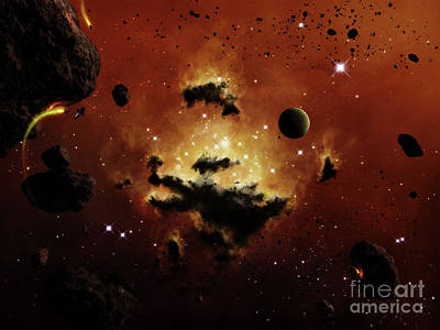Planetoid Digital Art - A Nebula Evaporates In The Far Distance by Brian Christensen