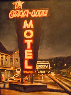 A Night At The Star-lite Motel Art Print by James Guentner
