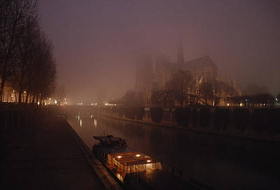 A Night View Across The Seine Towards Art Print by James L. Stanfield
