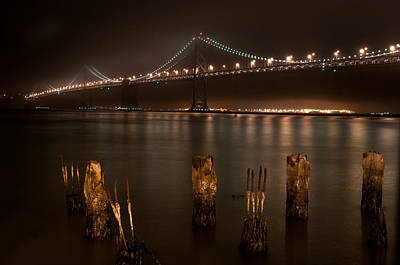 A Night View Of The San Francisco Bay Bridge And Oakland  Original