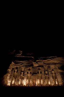 A Nighttime View Of Nefertaris Temple Art Print by Taylor S. Kennedy