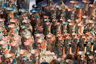 A Number Of Clay Vases And Figurines At The Surajkund Mela Art Print by Ashish Agarwal