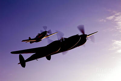 Photograph - A P-38 Lightning And P-51d Mustang by Scott Germain
