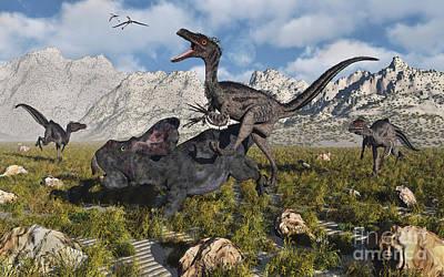 Dromaeosaurid Digital Art - A Pack Of Velociraptors Attack A Lone by Mark Stevenson