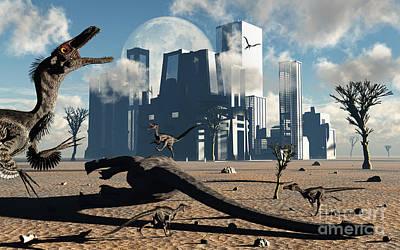 Carcass Digital Art - A Pack Of Velociraptors Come by Mark Stevenson