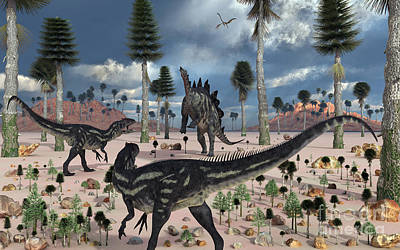 A Pair Of Allosaurus Dinosaurs Confront Art Print by Mark Stevenson