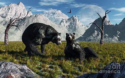Playful Digital Art - A Pair Of Arctodus Bears Courting Each by Mark Stevenson