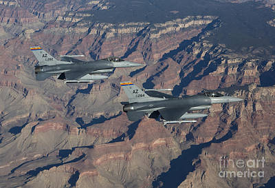 F-16 Wall Art - Photograph - A Pair Of F-16s Fly In Formation by HIGH-G Productions