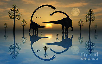 Playful Digital Art - A Pair Of Omeisaurus Dinosaurs Involved by Mark Stevenson