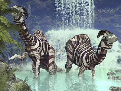 Parasaurolophus Digital Art - A Pair Of Parasaurolophus Feed On Flora by Walter Myers