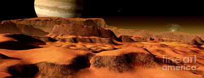 Surrealism Digital Art - A Panorama Of The Strange, Mesa-like by Ron Miller