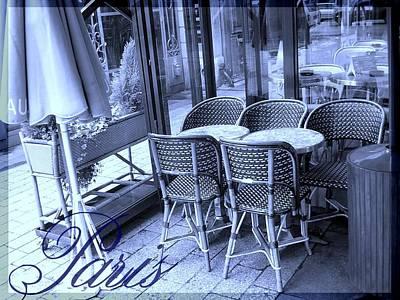 A Parisian Sidewalk Cafe In Blue Art Print by Jennifer Holcombe