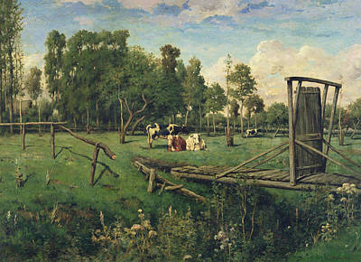 Ditch Painting - A Pasture In Normandy by Constant-Emile Troyon