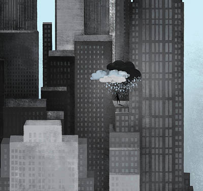Absence Digital Art - A Person On A Skyscraper Under A Storm Cloud Getting Rained On by Jutta Kuss