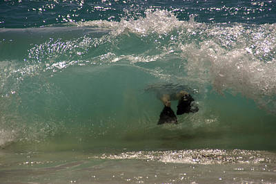 Body Surfing Photograph - A Person Swims Through A Wave by Stacy Gold