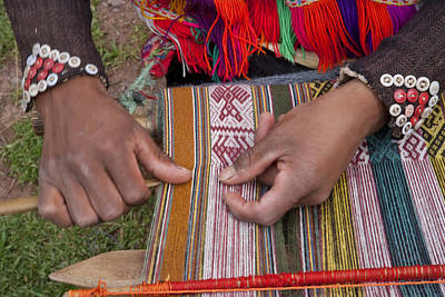 Hand-weaving Photograph - A Peruvian Weaving Using Traditional by Michael Melford