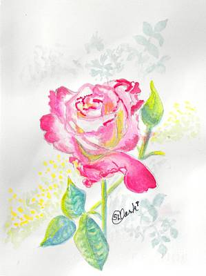 Variegated Painting - A Pink Rose For Love by Susan Lee Clark