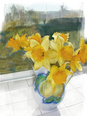 Pitcher Painting - A Pitcher Of Yellow Daffodils In The Window by Elaine Plesser