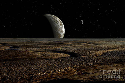 A Planet And Its Moon Are Dimly Lit Print by Frank Hettick