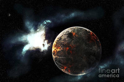 Terrestrial Sphere Digital Art - A Planet Harvested Off Its Resources by Tomasz Dabrowski