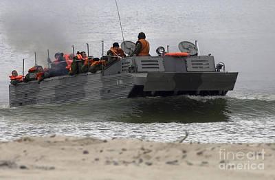 A Polish Amphibious Vehicle Drives Onto Art Print