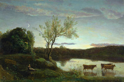 Moonlit Painting - A Pond With Three Cows And A Crescent Moon by Jean Baptiste Camille Corot