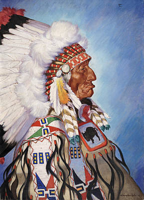 A Portrait Of 95-year Old Sioux Chief Art Print by W. Langdon Kihn