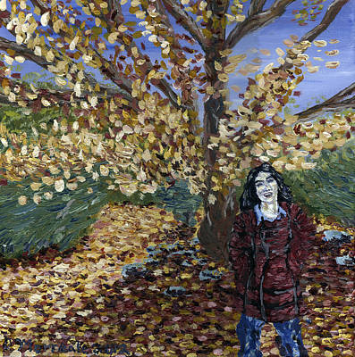 A Portrait Of The Artist's Mother In Autumn Art Print by Denny Morreale