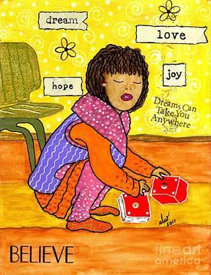 Little Girl Mixed Media - A Prayer That Dreams Come True by Angela L Walker