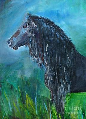 Painting - A Proud Friesian by Leslie Allen