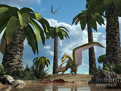 Carcass Digital Art - A Pterosaur Flying Reptile Lands Next by Walter Myers