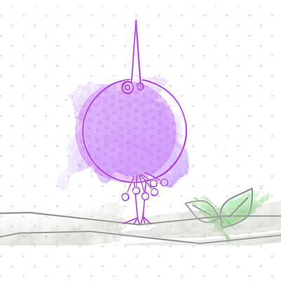 Baby Bird Digital Art - A Purple Bird by Nomi Elboim