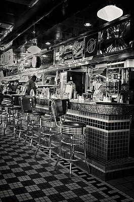 Old Diner Bar Stools Photograph - A Quarter To Three... by Boyd Alexander